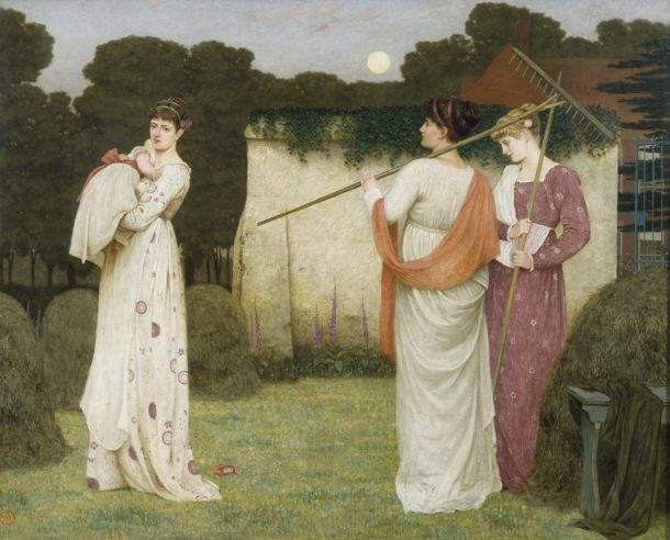 Armstrong here romanticises rural life and the female agricultural labourer to create a harmonious figurative picture. His languid beauties invoke a Classical and 'Aesthetic' ideal - the three Graces perhaps - disposed in a frieze-like composition, and dressed in Greek-style costumes with ribbon-bound hair. The colours and the mood of the picture are close to Pre-Raphaelite painting, and the women themselves recall the figures in the pseudo-classical fantasies of Albert Moore or Alma-Tadema.