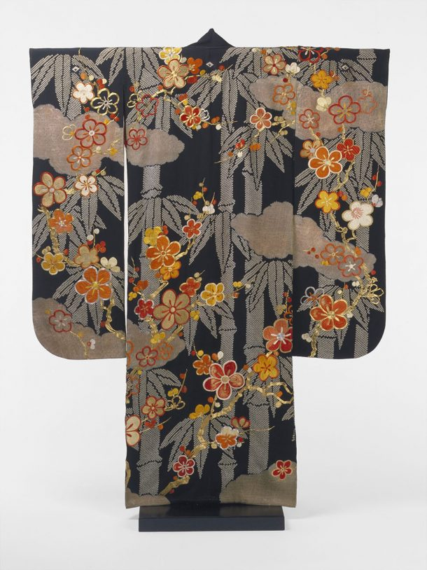 Kimono decorated with bamboo, plum blossoms and clouds