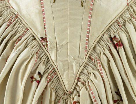 Dress, front detail, 1840s evening dress made from 1770s Spitalfields silk brocade