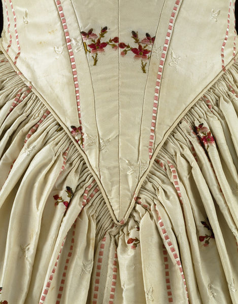 Dress, front detail, 1840s evening dress made from 1770s Spitalfields silk brocade