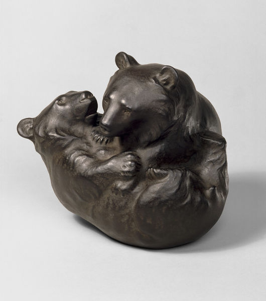 3D model of Two bear cubs at play, Yamada Chozaburo Muneyoshi, 1909, Japan