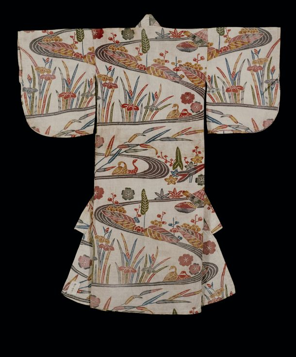 Decorated kimono for a child, showing stylised stream, ducks and irises