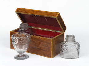 Tea Caddy; rosewood, with cut glass bottles & basin; lid open, with glassware out of the box.