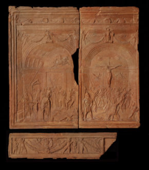 Terracotta Relief : The Flagellation & Crucifixion; probably by Donatello (c.1386 - 1466). Italian; c.1445 in 2008.