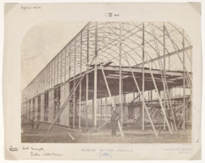 The Building of South Kensington Museum, Brompton, with scaffolding frame of the building