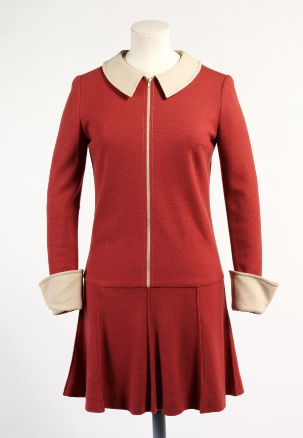 Wool jersey dress, with cream Peter Pan collar and turned back cuffs, Mary Quant, about 1967 UK. Museum no. T.352-1974. © Victoria and Albert Museum, London