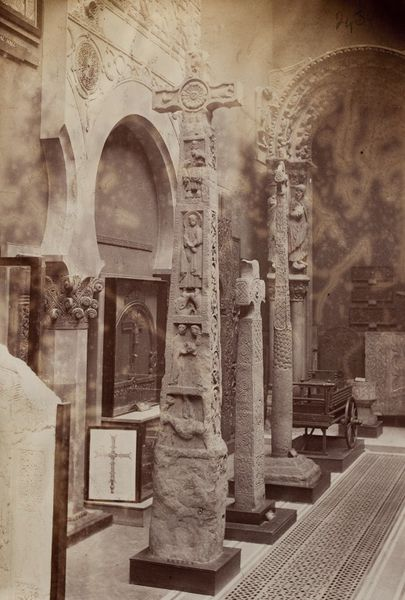 An early photograph showing the casts of the crosses displayed in the Cast Courts gallery. Image © Victoria and Albert Museum, London.