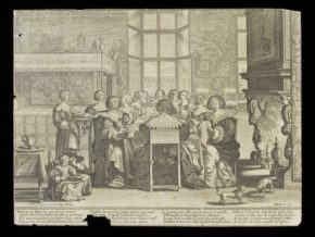 Les femmes a table en l'absence de leurs maris, by Abraham Bosse,; French school, 1st ½, of the 17th century (29534B); (in 2012). ©Victoria & Albert Museum, London. with tear damage at the bottom.