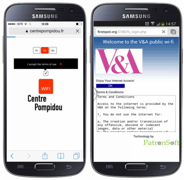 SCreenshots of mobile Wi-Fi from Pompidou Paris and V&A London