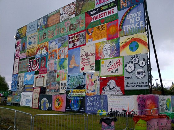 Banners at Glastonbury Festival