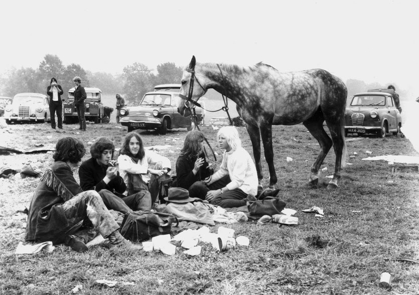 Hippies and their horse at the first festival