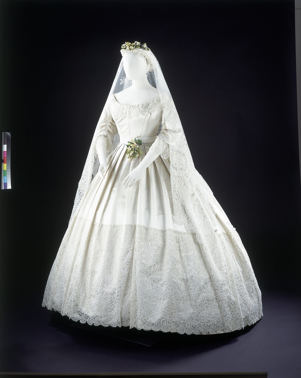White Satin Wedding Dress Trimmed With Honiton Lace 1865