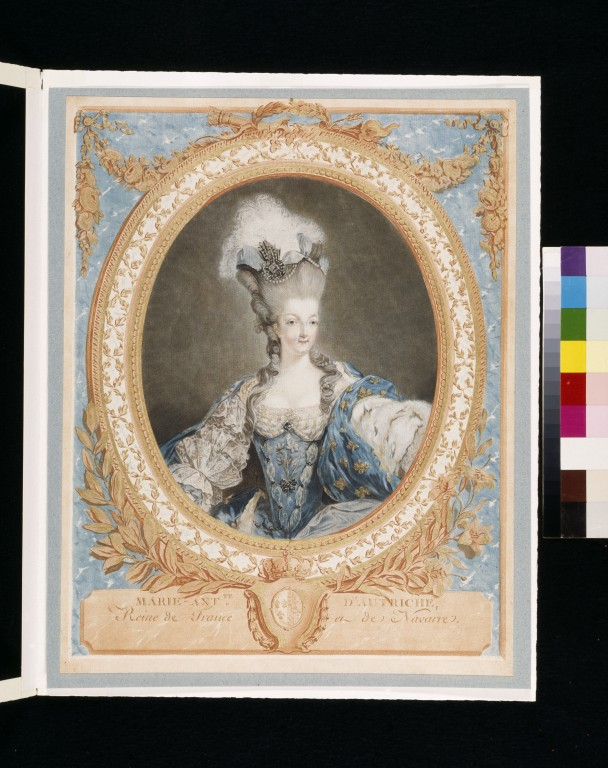 Marie-Antoinette, colour aquatint, by Jean Francois Janinet, after a painting by Jean-Baptiste-André Gautier-Dagoty, France, 1777. V&A E.422-1905