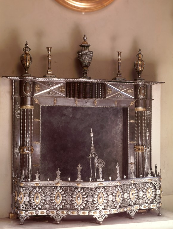 Fireplace with fender, fire-irons and ornaments, Steel with gilt copper, brass and cut steel. Produced by the Tula Arsenal, Russian, 1770-1800 V&A M.49-1953 © Victoria and Albert Museum, London