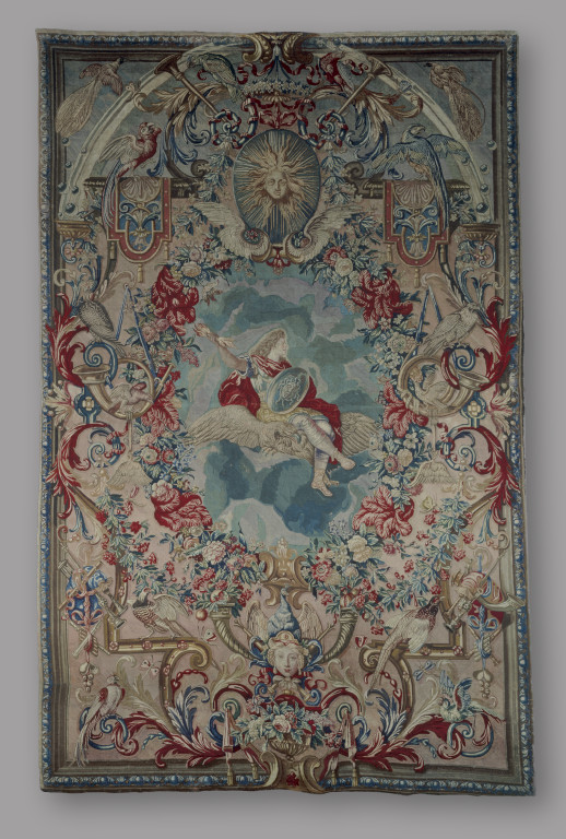 Louis XIV as Jupiter, Allegory of Air from series of the Elements and Seasons, wool and silk needlepoint hanging, French 1670-1700 (V&A T.106-1978) © Victoria and Albert Museum, London