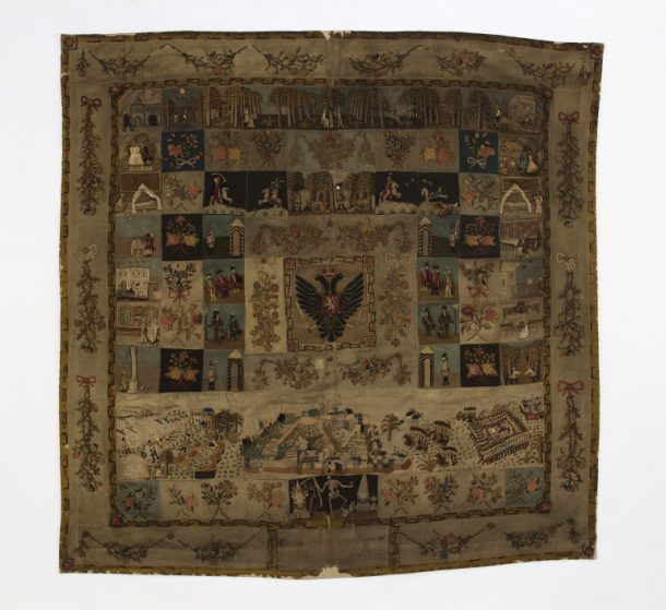 Large square cover of inlaid patchwork and appliqué, mostly in wools, Prague, 1790 (V&A T.45-1914) © Victoria and Albert Museum, London