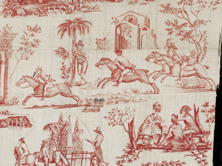 Detail of a printed cotton featuring a friendly race between riders, toile de Nantes, ca.1790 V&AT.448-1919