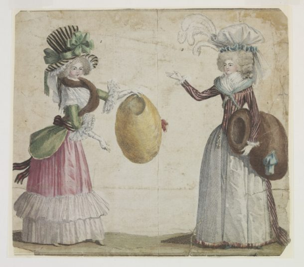 Fashion plate showing women's costume, hand-coloured etching, Paris, 1787 V&A E.988-1959 Women adopted the Robe à l'Anglaise, which consisted of an open robe with a bodice cut in one piece, with an over-skirt parted in front to reveal a matching petticoat. Its fitted bodice did not have the centre back pleats that characterised the Robe à la Française.