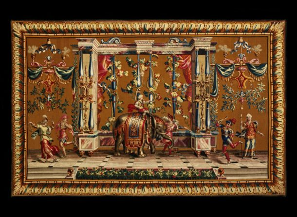 'The Elephant', tapestry, woven in wool and silks on woollen warps, designed by Jean-Baptiste Monnoyer, made by the Beauvais Tapestry Factory, France, ca.1700- 1720 (V&A T.53-1955) © Victoria and Albert Museum, London The additional two tapestries which make up the Beauvais set were also sent for cleaning (T.55&56-1955).