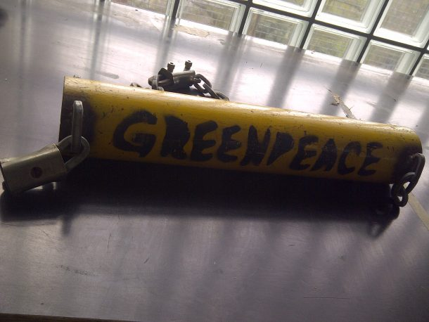 Touring the Greenpeace's workshop. Photograph by Victoria Jessops.