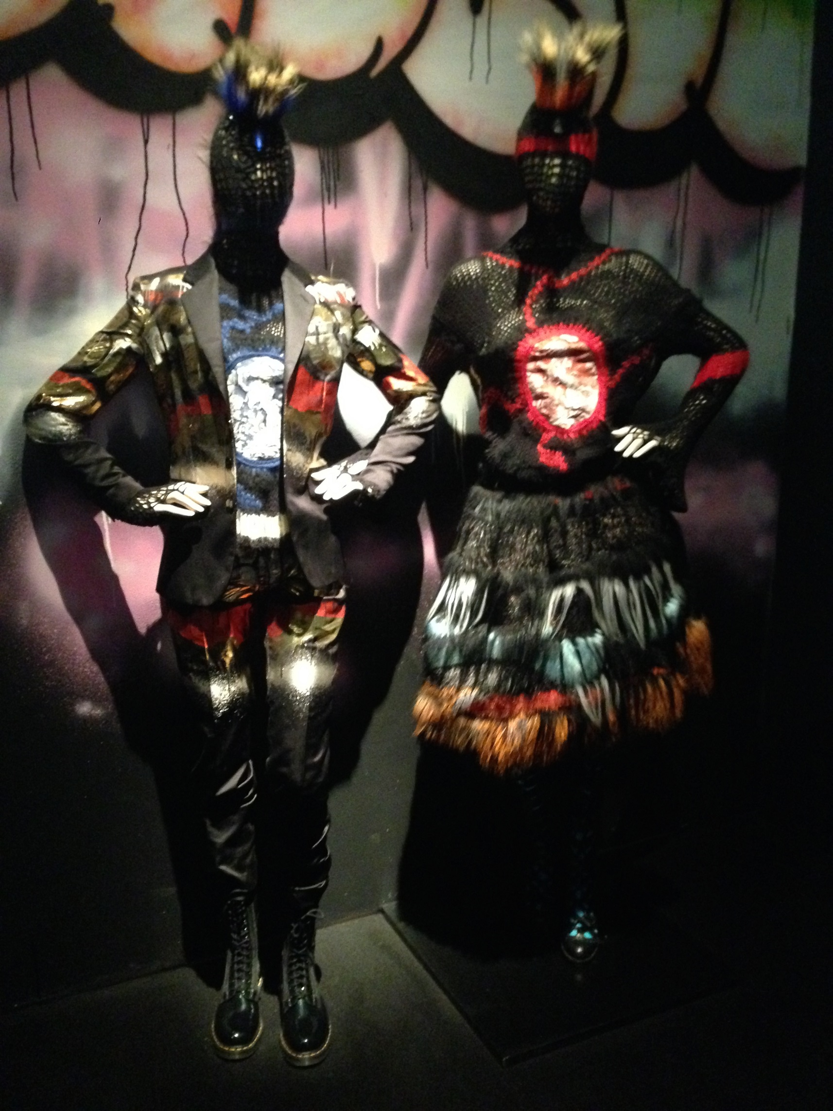Two punk mannequins placed directly on the floor, Barbican. © Katherine Elliott, 2014