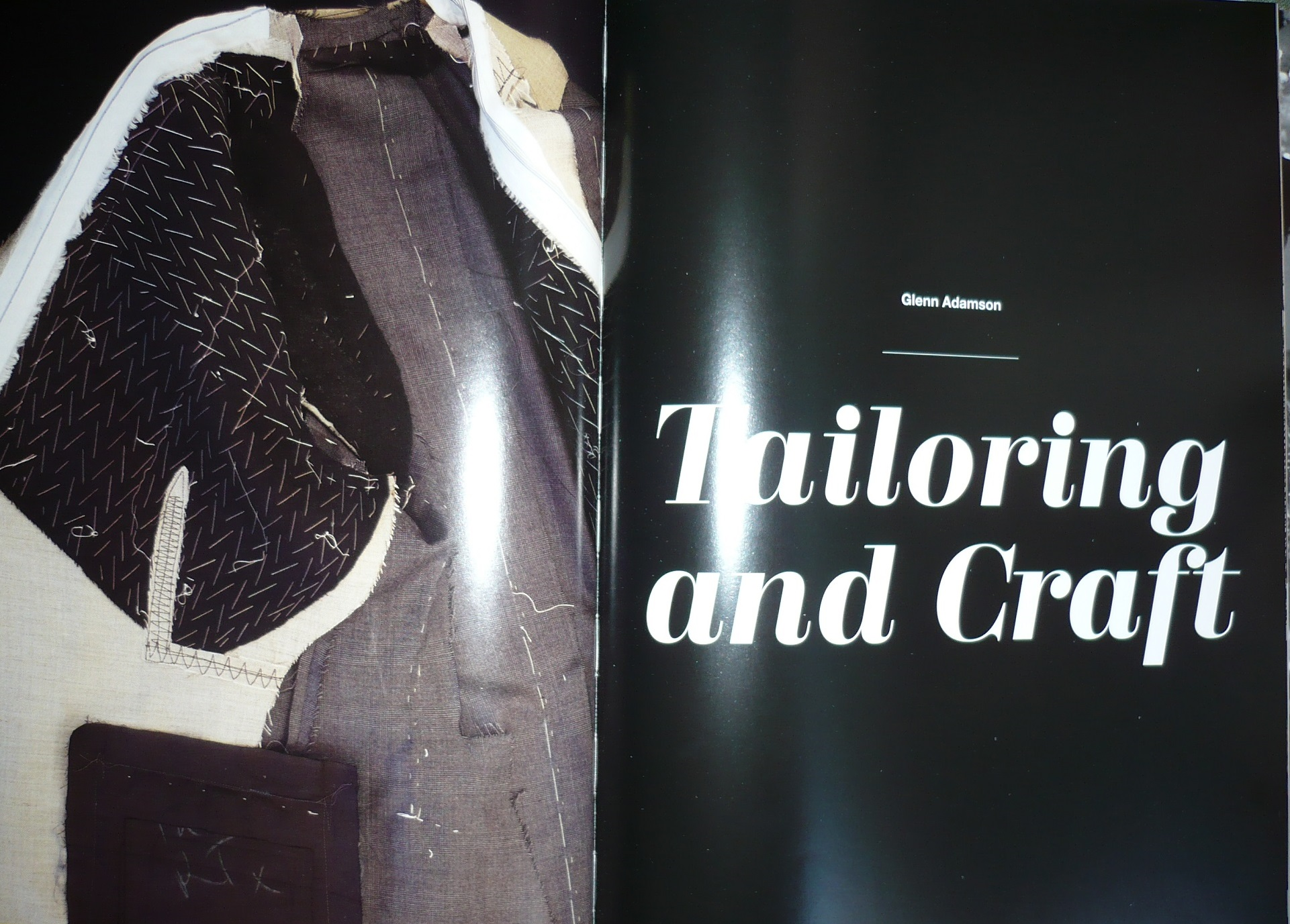 Double page spread in the Glamour of Italian Fashion Since 1945 publication on Tailoring and Craft