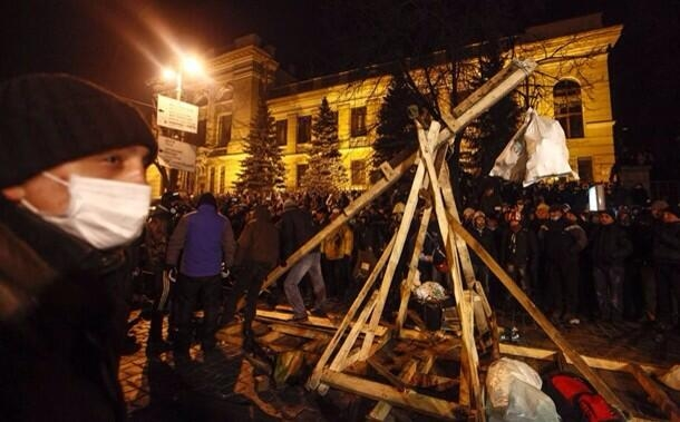 Museums in Ukraine are preserving objects like this trebuchet, from Kiev's Maidan protest camp