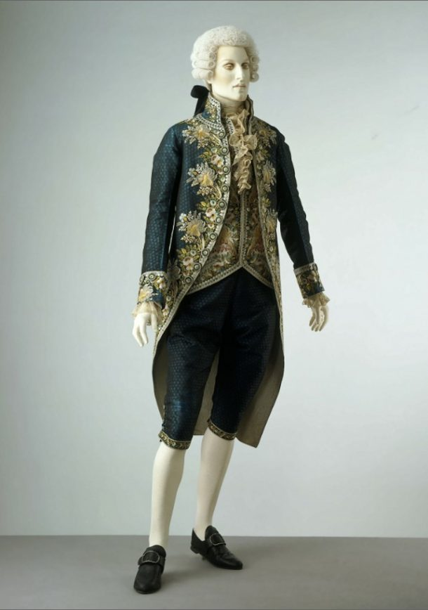 In the galleries, the brown suit will provide a clear contrast to this lavish embroidered silk Court suit of the 1790s. V&A T.148-1924