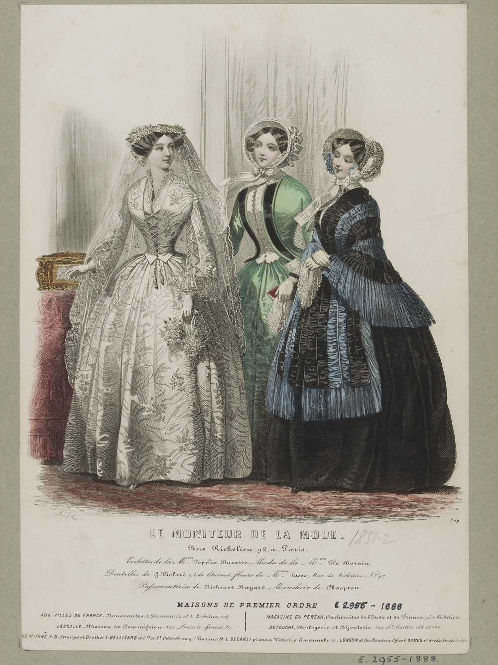 Hand Coloured Engraving By Jules David Featuring Wedding And Day Dress Designs Popelin