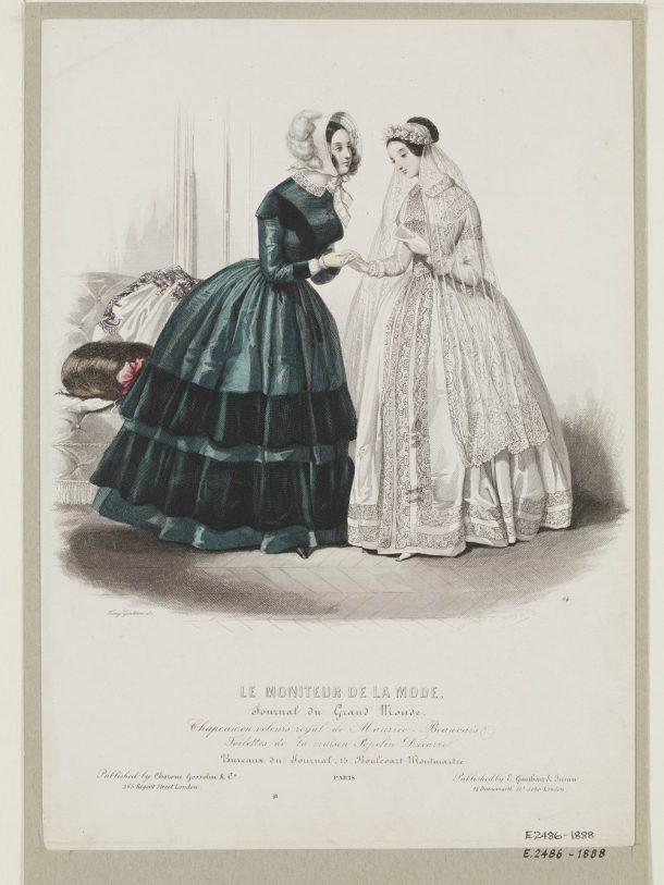 Fashion plate from Le Moniteur de la Mode, mid 1840s