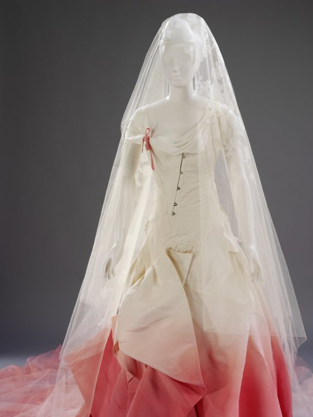 The skirt of Gwen Stefani's wedding dress is designed to look as though the fabric has been passionately pulled at