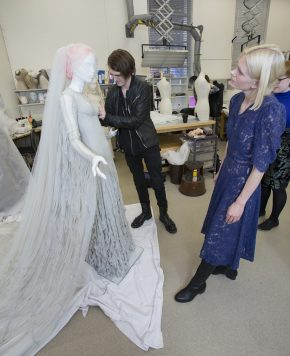 Katie Shillingford and Gareth Pugh consider the styling of her wedding dress, which Gareth designed