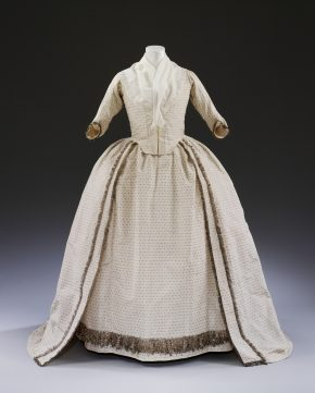 Wedding dress worn by Sarah Boddicott, 28th September 1779