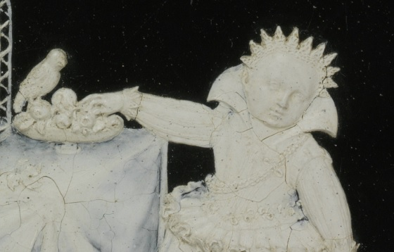 Detail from a very delicate wax of two year old Sophia Eleonore of Saxony handling some fruit. Made by Daniel Kellerthaler, Germany (Dresden), 1611 V&A A.42-1978 © Victoria and Albert Museum, London