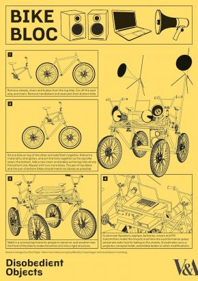 How to Guide: Bike Bloc. llustration by Marwan Kaabour, Barnbrook. This guide can be downloaded on the exhibitions website.