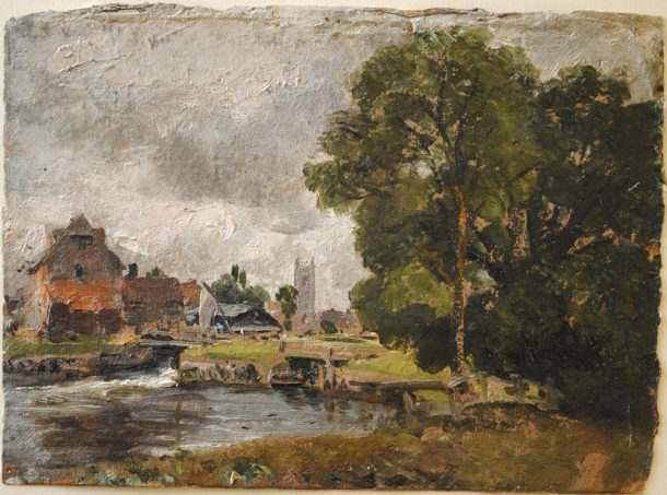 John Constable, 'Dedham Lock and Mill', 1811. oil on paper. © Victoria and Albert Museum, London.