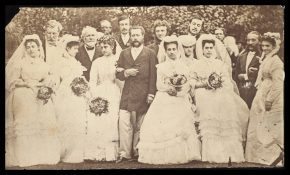 Photograph of Adelina Patti's wedding to Marquis Henri de Caux, 29 July 1868. Her four bridesmaids wear matching dresses and veils. © V&A Collection