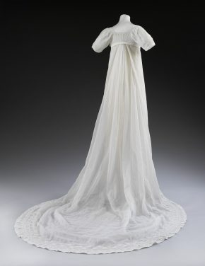 Back view of Mary Dalton Norcliffe's wedding dress, 1807 © V&A Collection