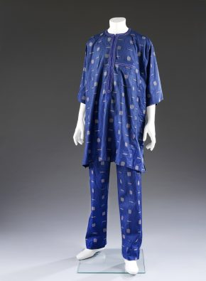 Tunic and trousers of African cotton brocade by Leony Anteson, London, 2012