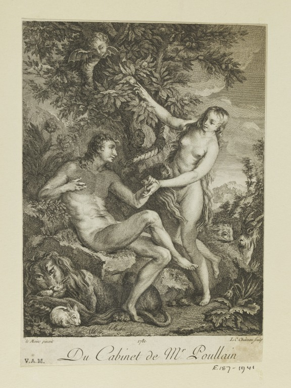 Eve Tempting Adam by François Lemoyne, engraved by Louis Charles Château, published 1781. V&A E.187-1941