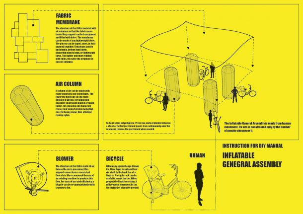 Inflatable General Assembly DIY Manual - Back Page. Created by Common Practice.