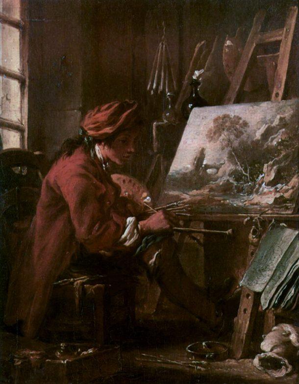Self-portrait in the Studio, François Boucher, 1720. Musée du Louvre