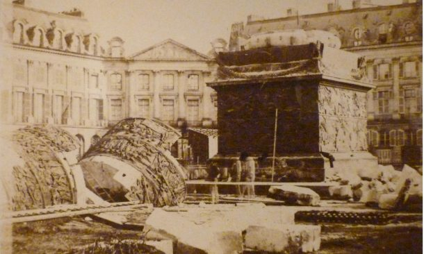 The Vendomme Column pulled down, Paris, May 16 1871.