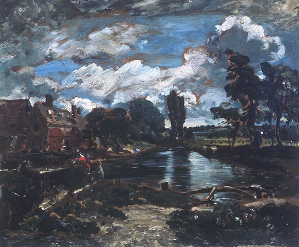 Oil painting of Flatford Mill from a Lock on the Stour