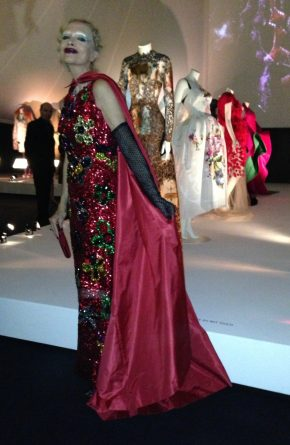 Cecilia Matteucci Lavarini wears an evening gown designed by Biki to the party which opened the V&A exhibition.
