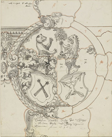Design for stained glass, drawing by Hieronymus Vischer, Swiss, 1596. Museum no. 1431
