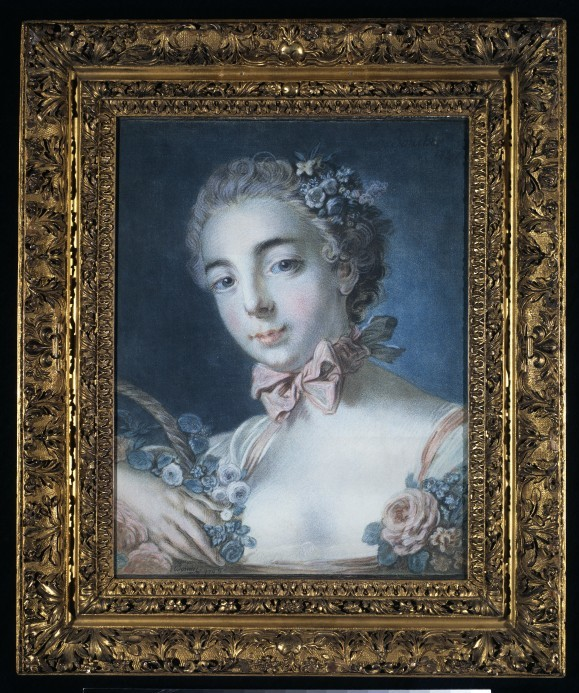 Tête de Flore, colour etching in the  crayon manner with mezzotint, by Louis-Marin Bonnet, after François  Boucher, 1769. VA 540-1882