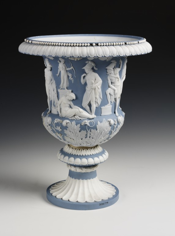 Vase of hard paste biscuit porcelain, with applied reliefs depicting the sacrifice of Iphigenia. Made at the Sèvres porcelain factory, 1813. The print source for the Sèvres vase may have been taken from the print above which shows both sides and a flattened out view of the frieze. V 396-1874