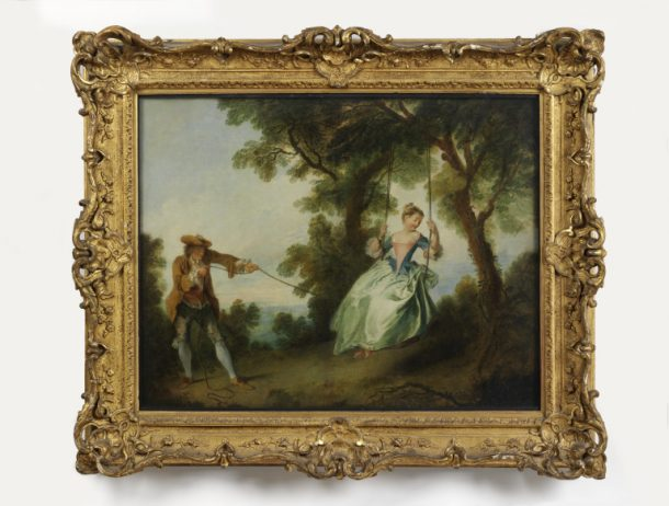 'The Swing (L'Escarpolette)',  oil painting, Nicolas  Lancret, Paris, 1730s. V&A 515-1882