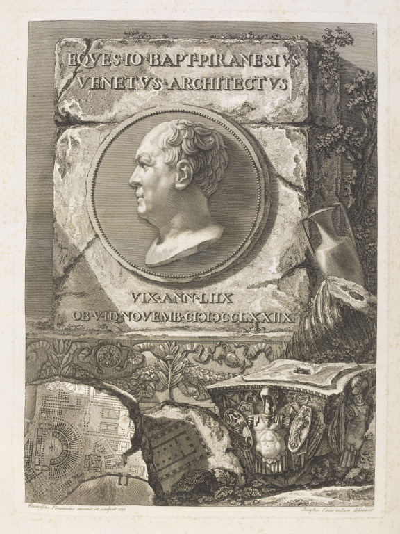 This engraving forms the title page of a volume. It depicts an ancient stone, with a cameo portrait of Giovanni Battista Piranesi in the centre. The portrait is a copy of a self-portrait by Piranesi, copied by his son for this volume. There are Roman engravings both above and below the cameo. Underneath the stone there are several classical motifs, including an armoured soldier, a city plan of Rome, and Roman vases. VA E.3958-1908